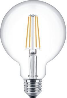 Philips LED-Lampe Classic LEDglobe 8-60W E27 827 G93 klar FIL DIM / EEK: A+